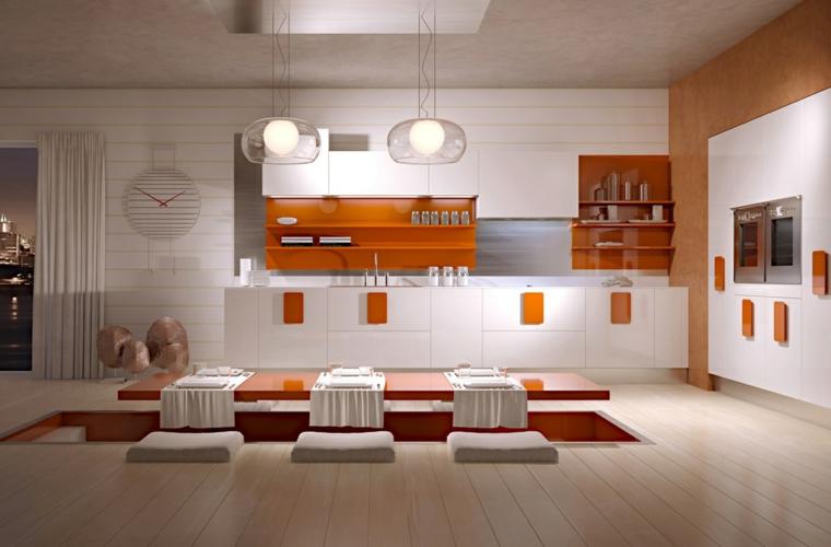 mensole loro colore arancione sottolinea bellezza questa cucina stile giapponese