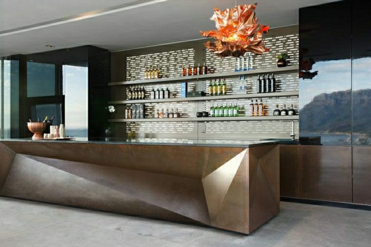 mensole lungo muro tocco arte cucina moderna colore scuro lucido