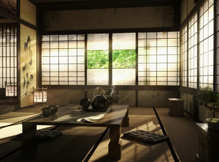 minimalismo giapponese porte scorrevoli tavolo basso colori tenui materiali naturali
