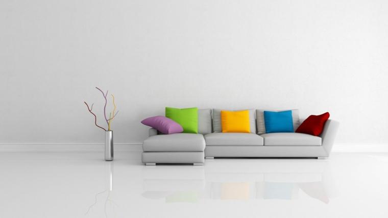 minimalismo grigio divano cuscini colorati