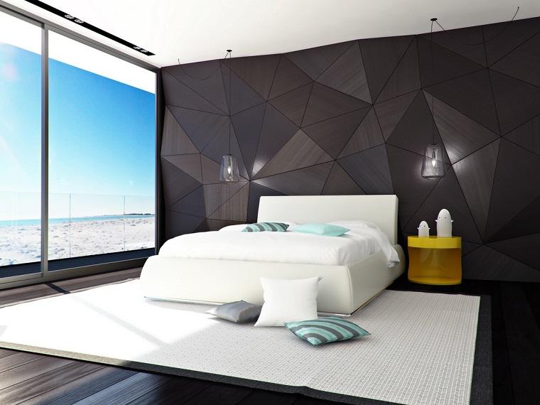 minimalismo letto bianco forme geometriche parete