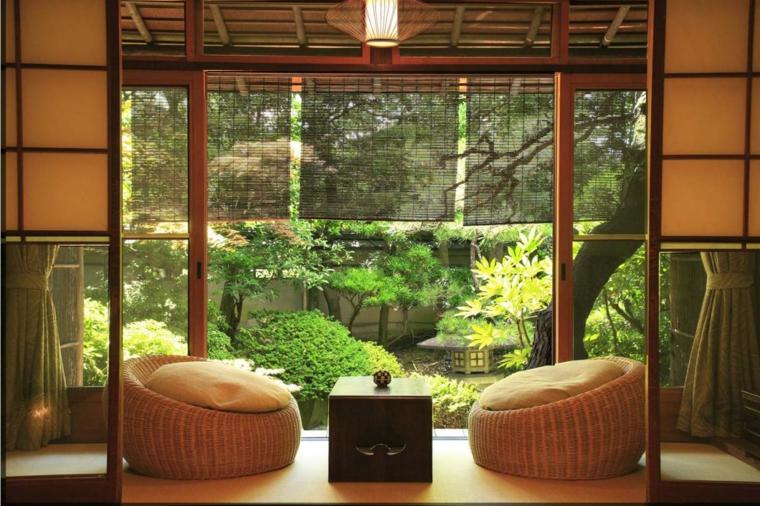minimalismo linee rette poltrone rotonde stile giapponese spazio luminoso