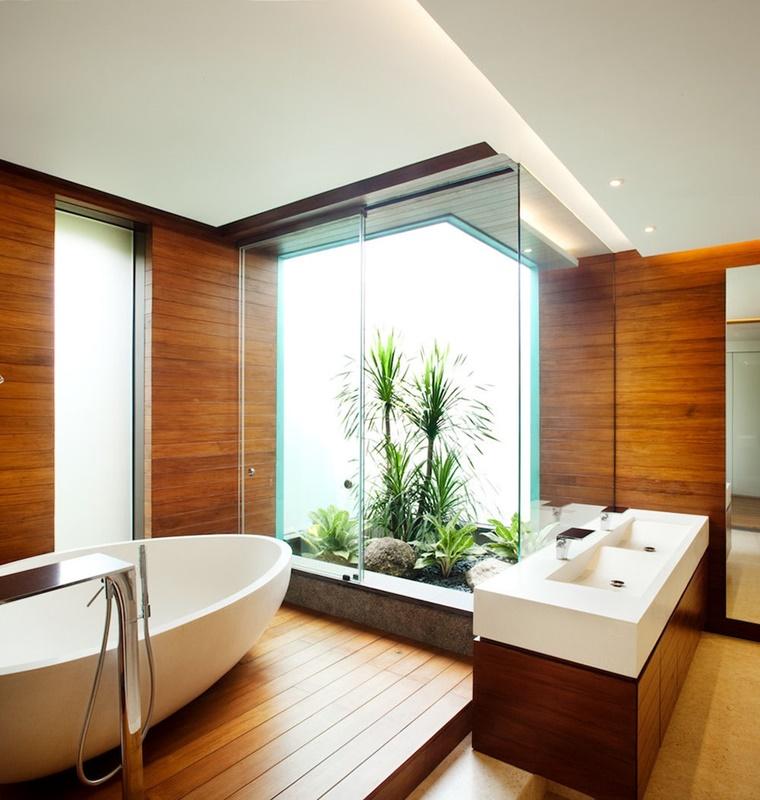 mobili bagno moderno legno vasca da bagno