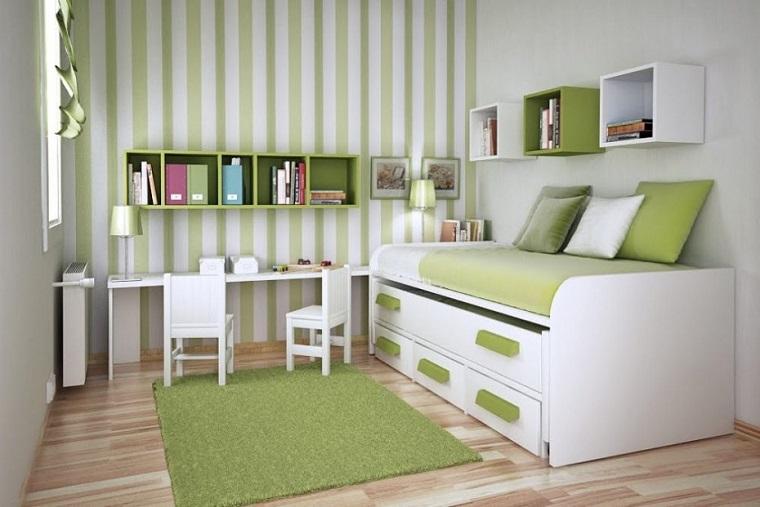 mobili cameretta colre verde spazio piccolo