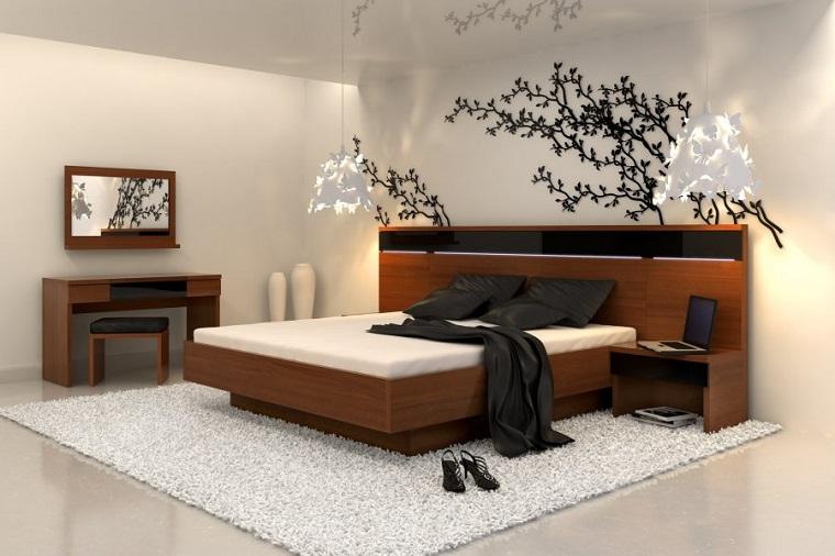 mobili moderni letto legno accento originale parete