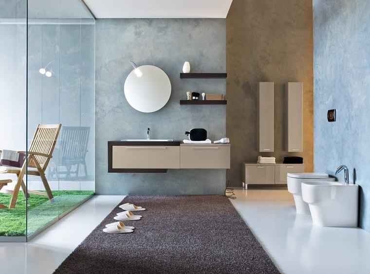 mobili moderni pavimento tappeto parete vetro
