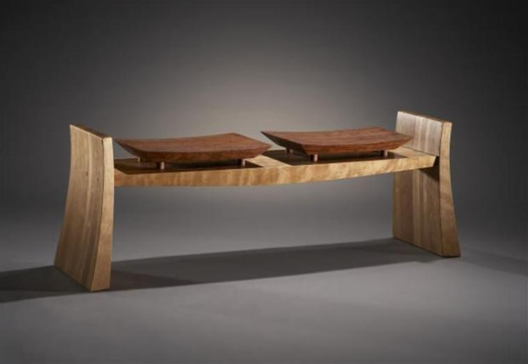 panchina legno sfumature chiaro scure mobile basso stile minimal