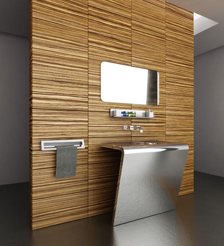 parete legno bagno lavabo metallo idea originale