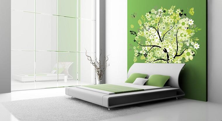 parete testata letto decorata colorata pianta