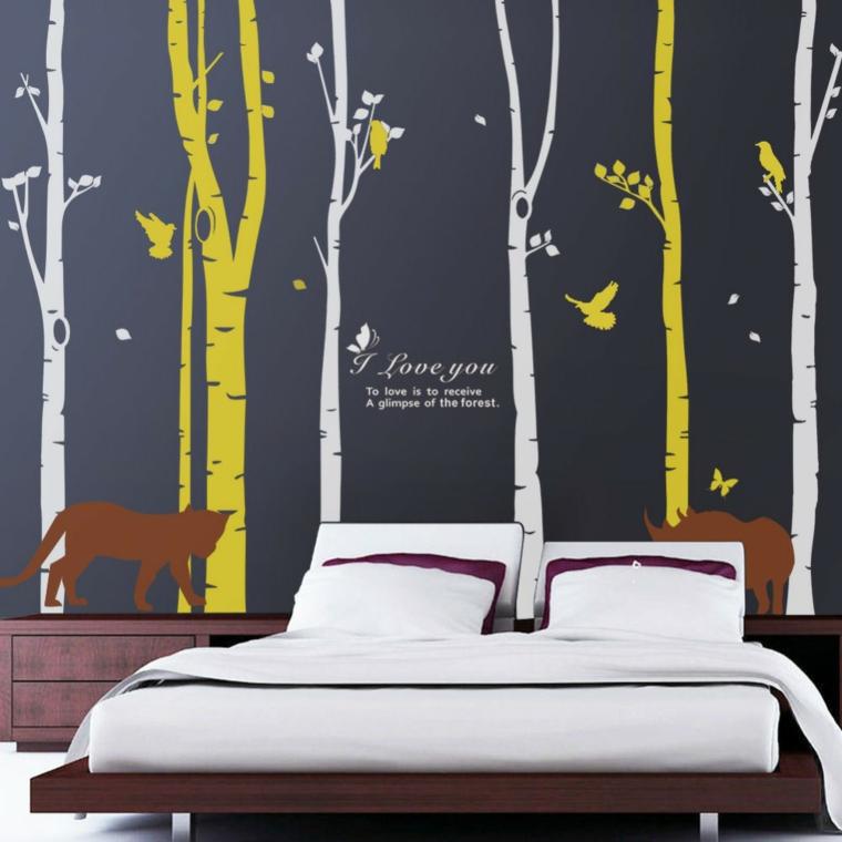 pareti decorate carta parati foresta alberi bianco giallo luppo ucelli