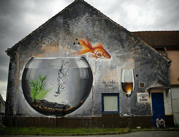 pareti decorate facciata griggia abbellita 3d quadro acquario pesce