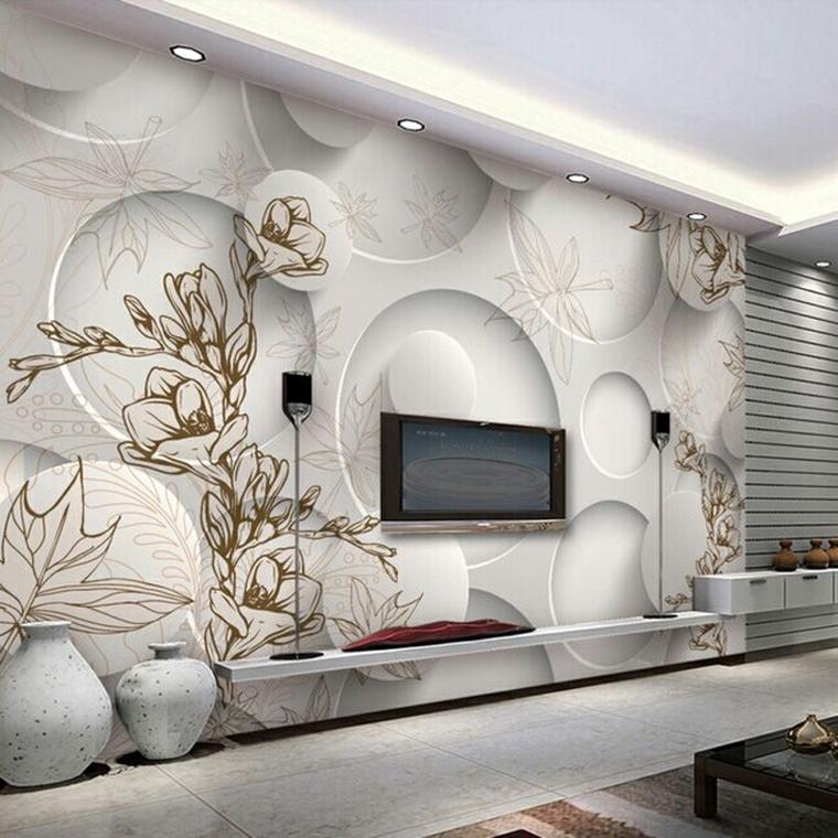 pareti decorate pannello bianco forme geometriche motivi floreali