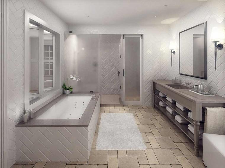 pietra naturale utilizzata pavimento vasca mobile legno