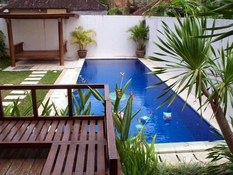 piscina piccola soleggiata cortile posteriore