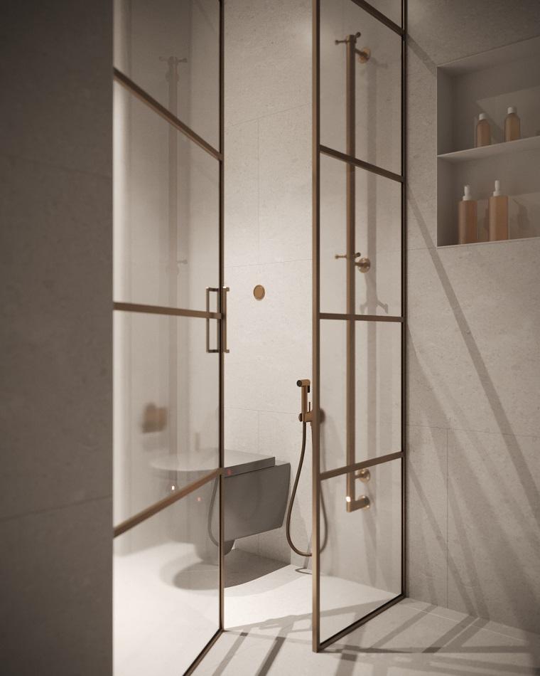 Esempi di disposizione piastrelle bagno, box doccia con porta di vetro