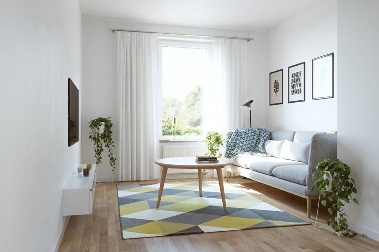 retrò metà secolo design tappeto rombi bianco grigio giallo