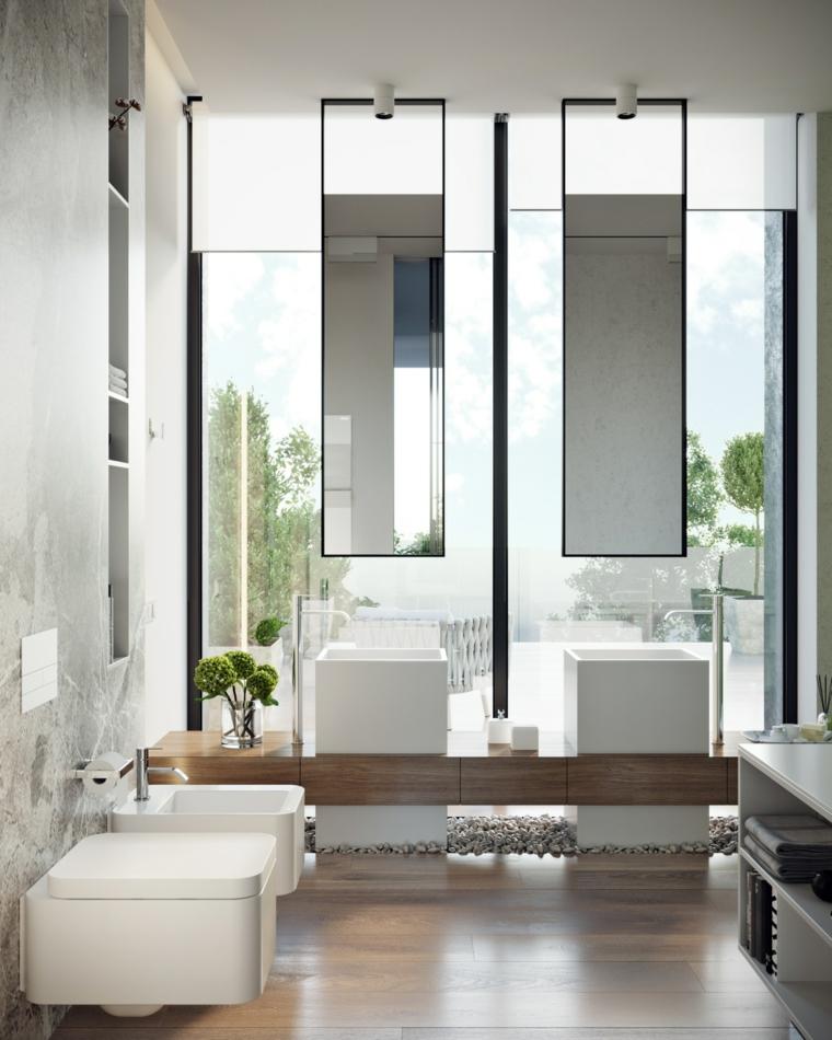 Come arredare un bagno piccolo, rivestimento pareti con piastrelle, due lavabi con specchi