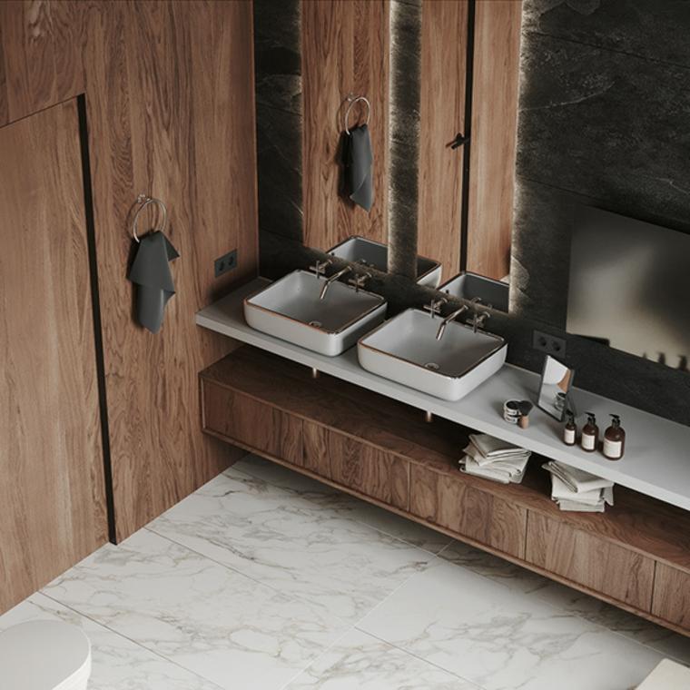Come ristrutturare un bagno, rivestimento pareti bagno con pannelli di legno