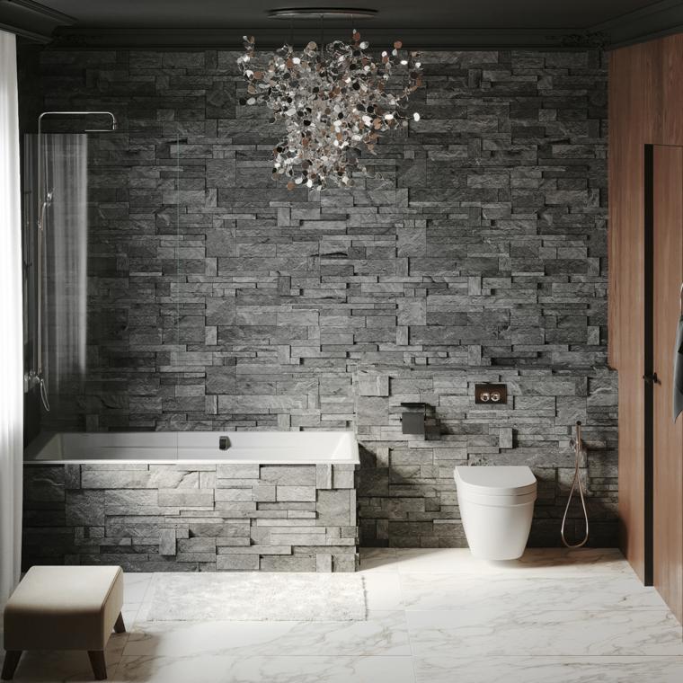 Piastrelle adatte ad un bagno piccolo, rivestimento parete bagno con pietra