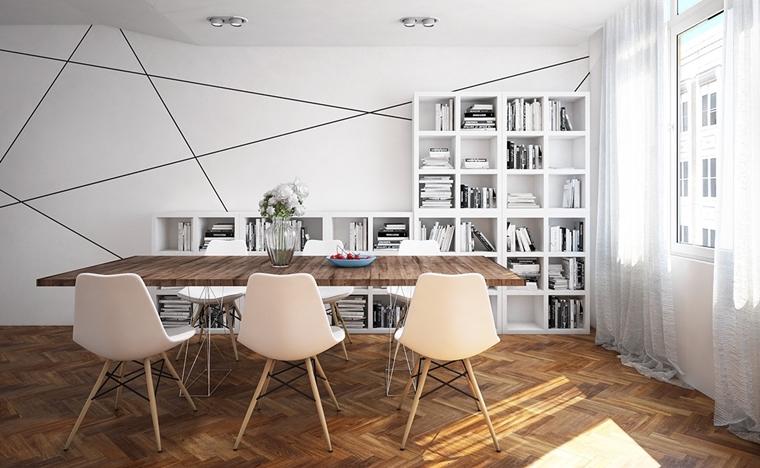 sala da pranzo forme geometriche pavimento classico