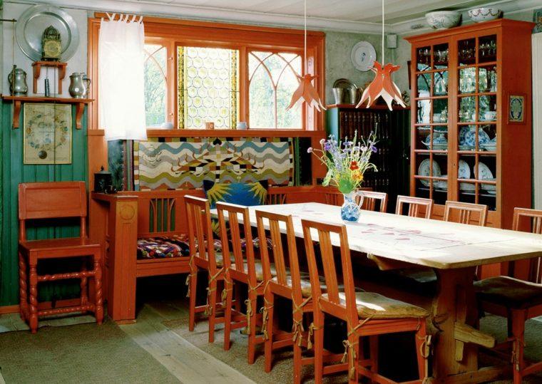 sala pranzo mobili legno oggetti bohemien