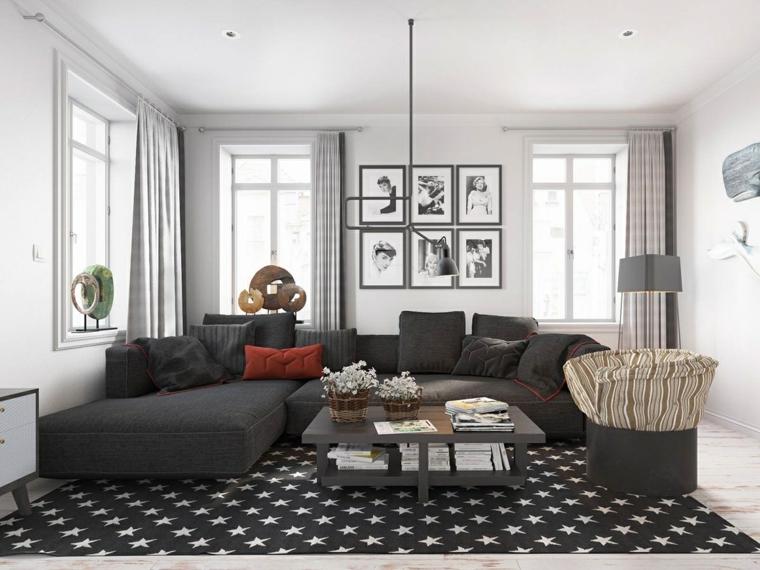 soggiorni moderni divano grigio tappeto grigio bianco