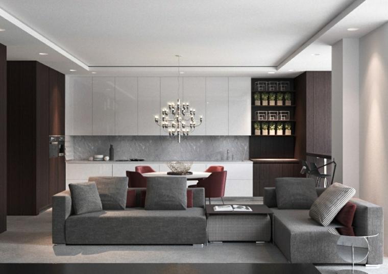 soggiorni moderni divano retrò lampadario vintage