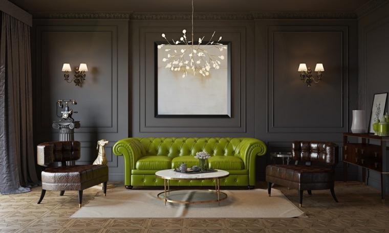 soggiorni moderni divano verde poltrone marone
