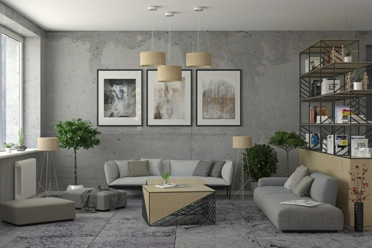 soggiorni moderni mobili retrò grigi