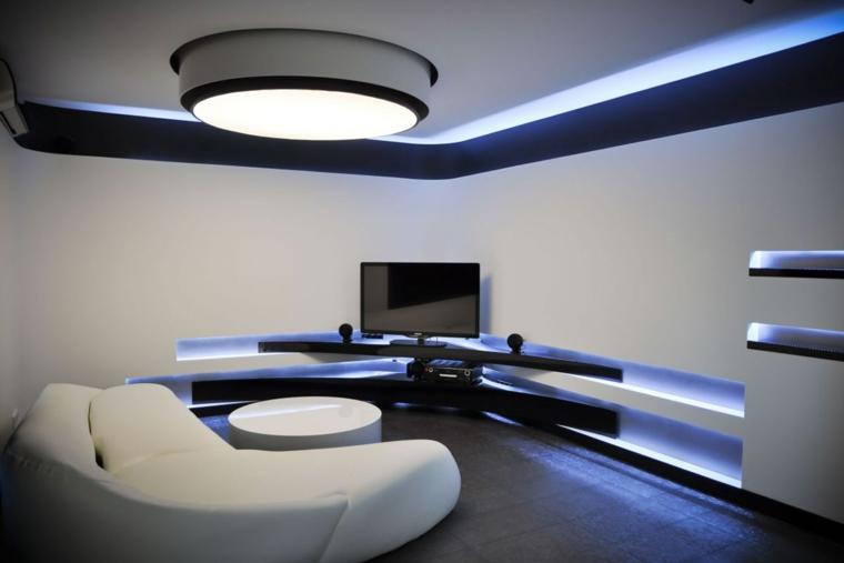 soggiorni moderni stile minimalista bianco luce artificiale