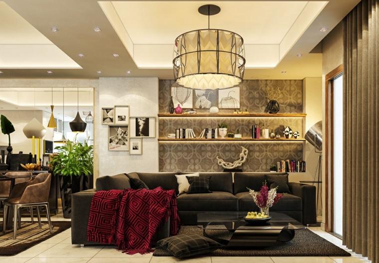 soggiorni moderni stile vintage colori tenui coperta rossa divano