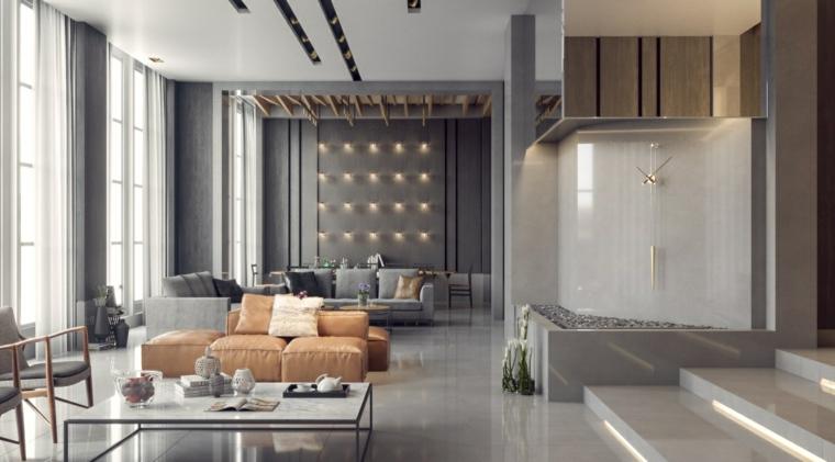 spazio aperto minimalismo colori grigio beige tocco passato
