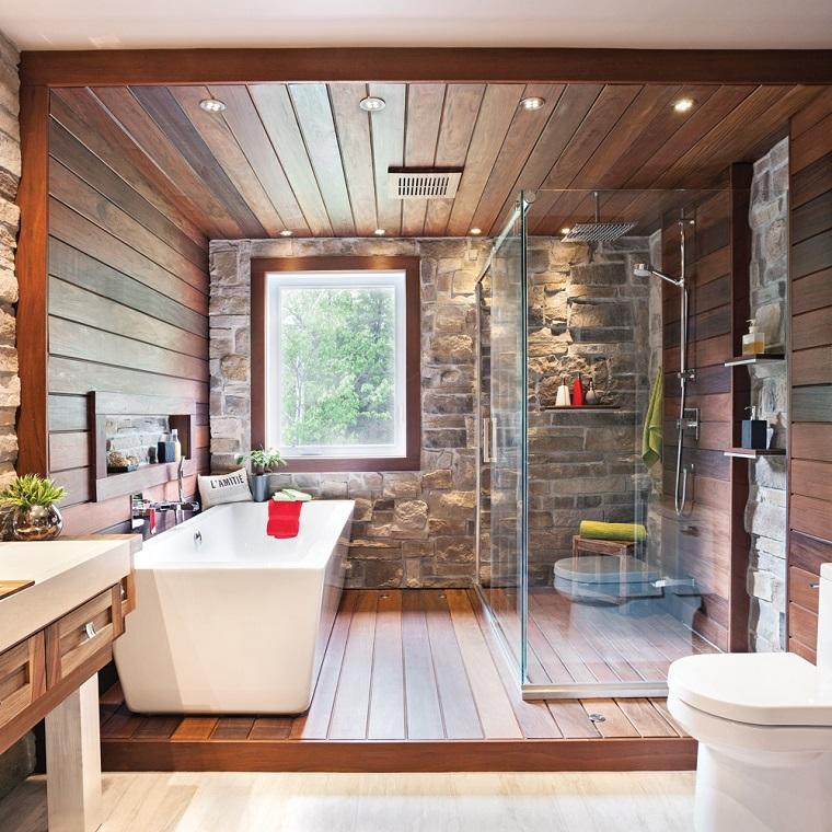 Idee bagno moderno con inserti in legno e pietra - Bagno rustico moderno ...