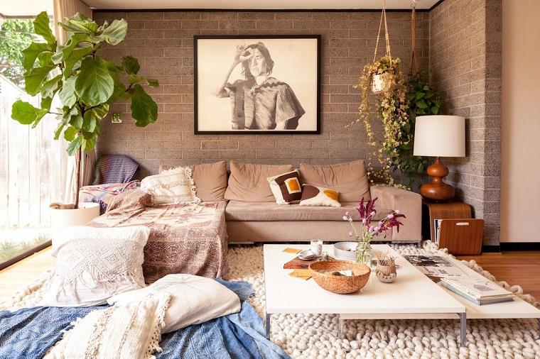 stile bohemien idee arredo soggiorno