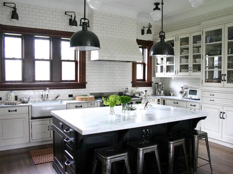 stile country mobili cucina bianco nero