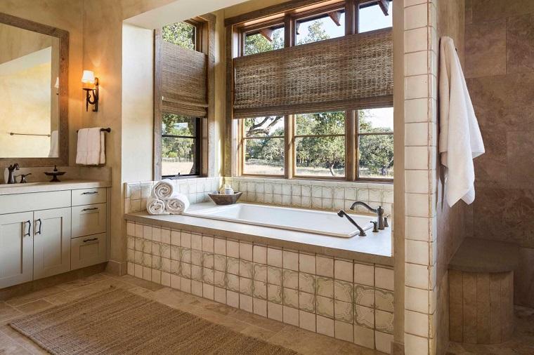 stile rustico vasca incasso elementi legno