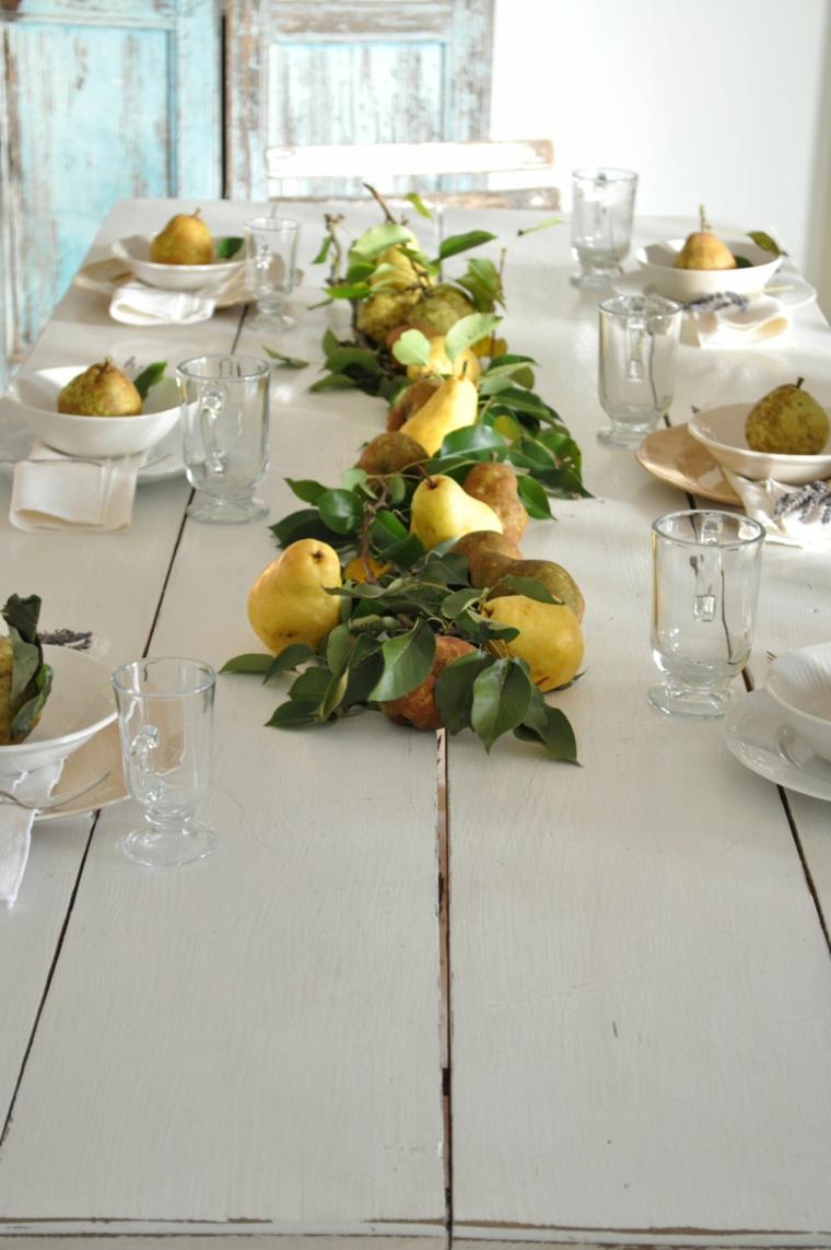 tavoli autunnali stoviglie semplice elegante pere tavolo bianco