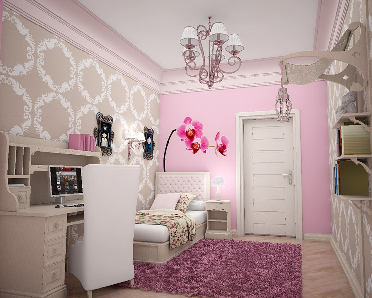 testata letto camerette ragazze decorazioni geometriche