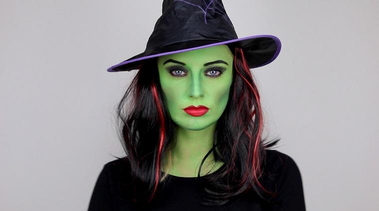 travestimento halloween strega faccia verde