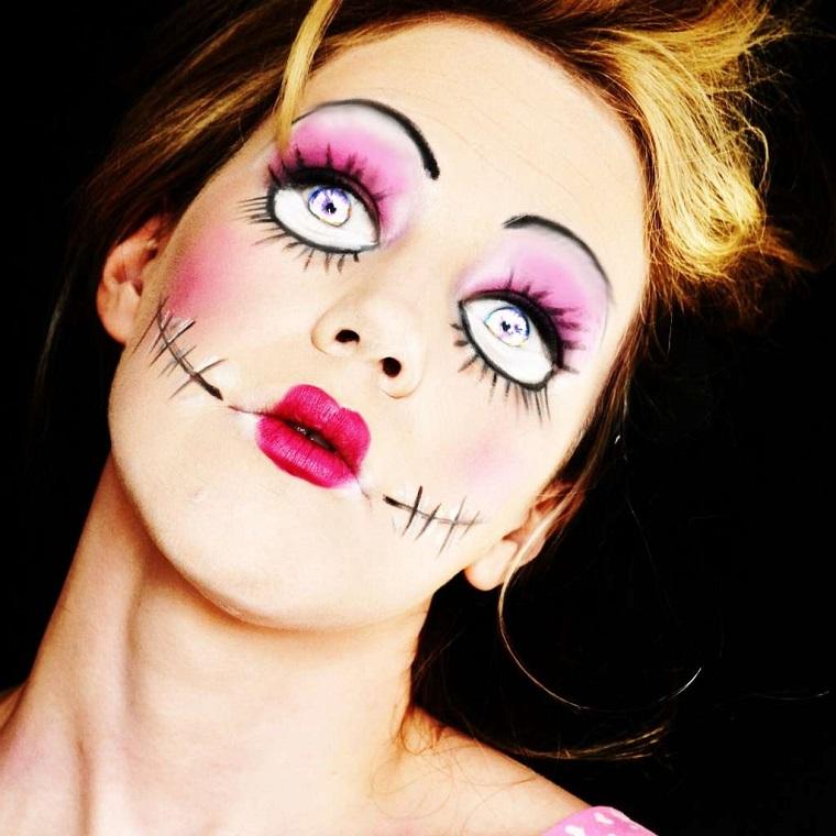 trucchi halloween donna bambola occhi