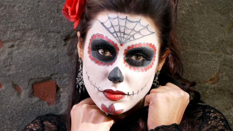 trucco per halloween maschera donna maquillage rosa