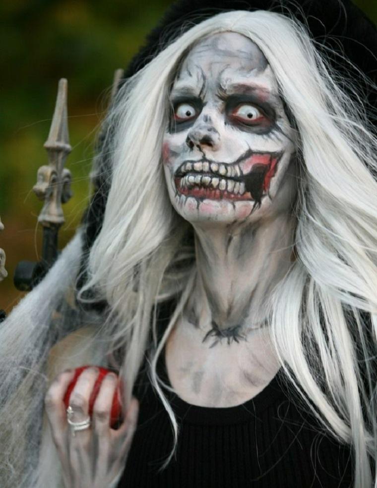trucco per halloween maschera faccia impressionante denti