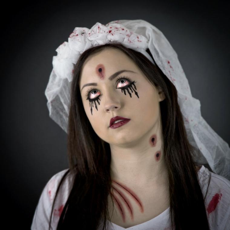 trucco per halloween maschera femminile sposa sangue