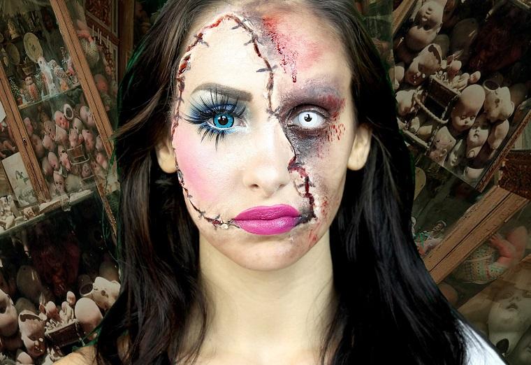 trucco per halloween maschera idea bambola porcellana
