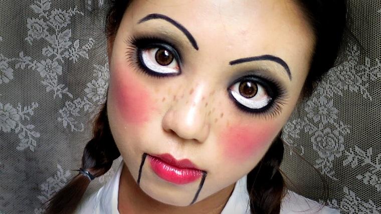 trucco per halloween maschera idee bambola faccia