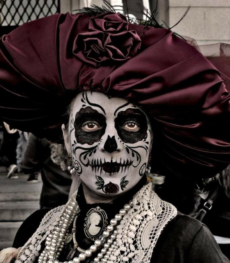 trucco per halloween maschera ombre bianco nero