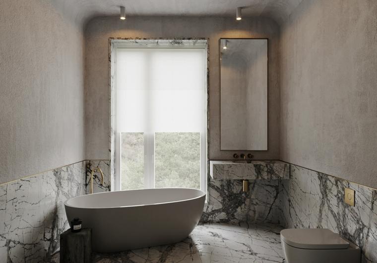 Piastrelle adatte ad un bagno piccolo, rivestimento bagno con piastrelle effetto marmo