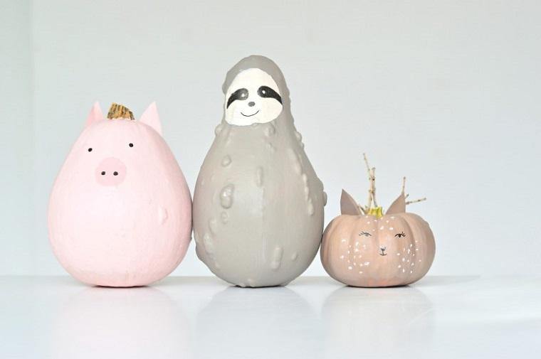 Immagini zucca di Halloween, zucca dipinta con colori acrilici, disegni su zucche, addobbi per Halloween