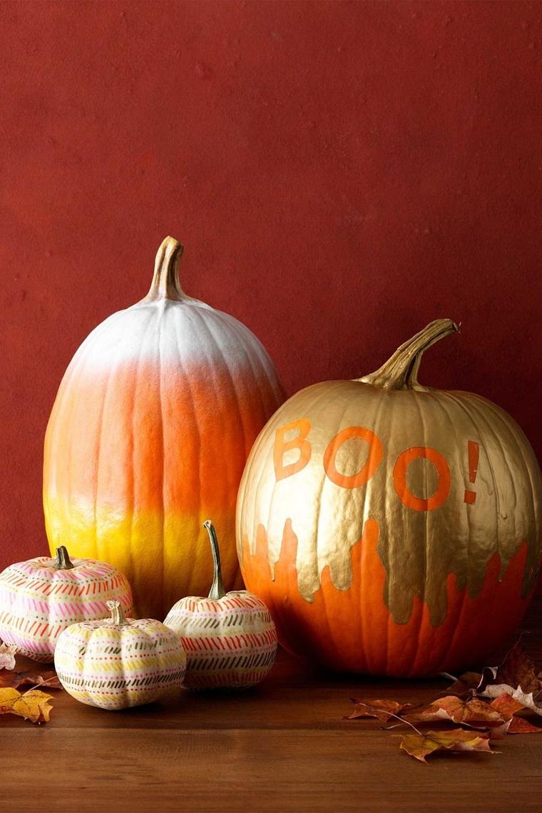 zucca di halloween decozione dorata spray arancione