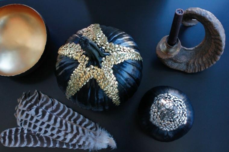 zucche decorative halloween decorazione chiodini neri